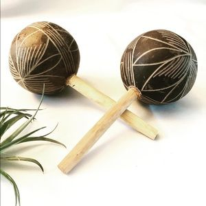 Handcrafted natural maracas